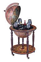 Кремовый Глобус бар напольный 450 мм с полкой и зодиакальными картами - Зодиак, оригинальный подарок
