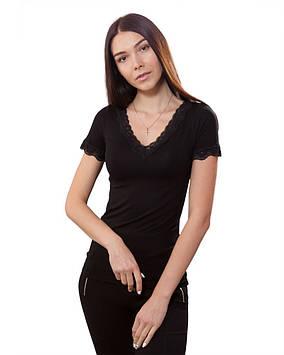 Чорна жіноча футболка з гіпюром (розміри XS-3XL)