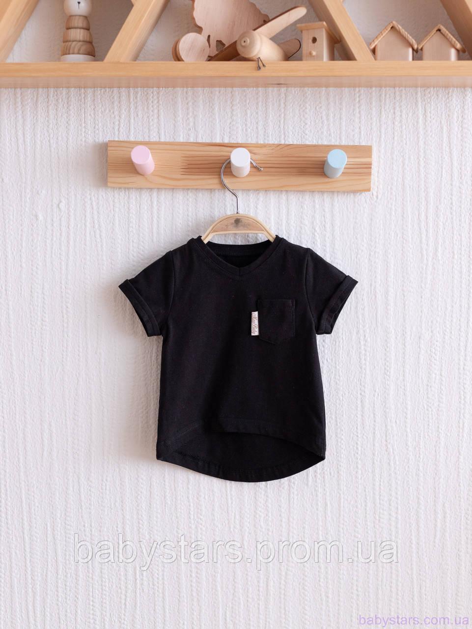 """Футболка для девочки """"Simply"""", черная с карманом. Размеры: от 80 до 110"""