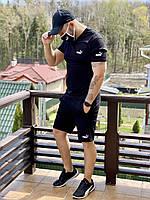 Мужской спортивный костюм Puma реплика. Летний комплект мужская футболка + шорты Пума черный