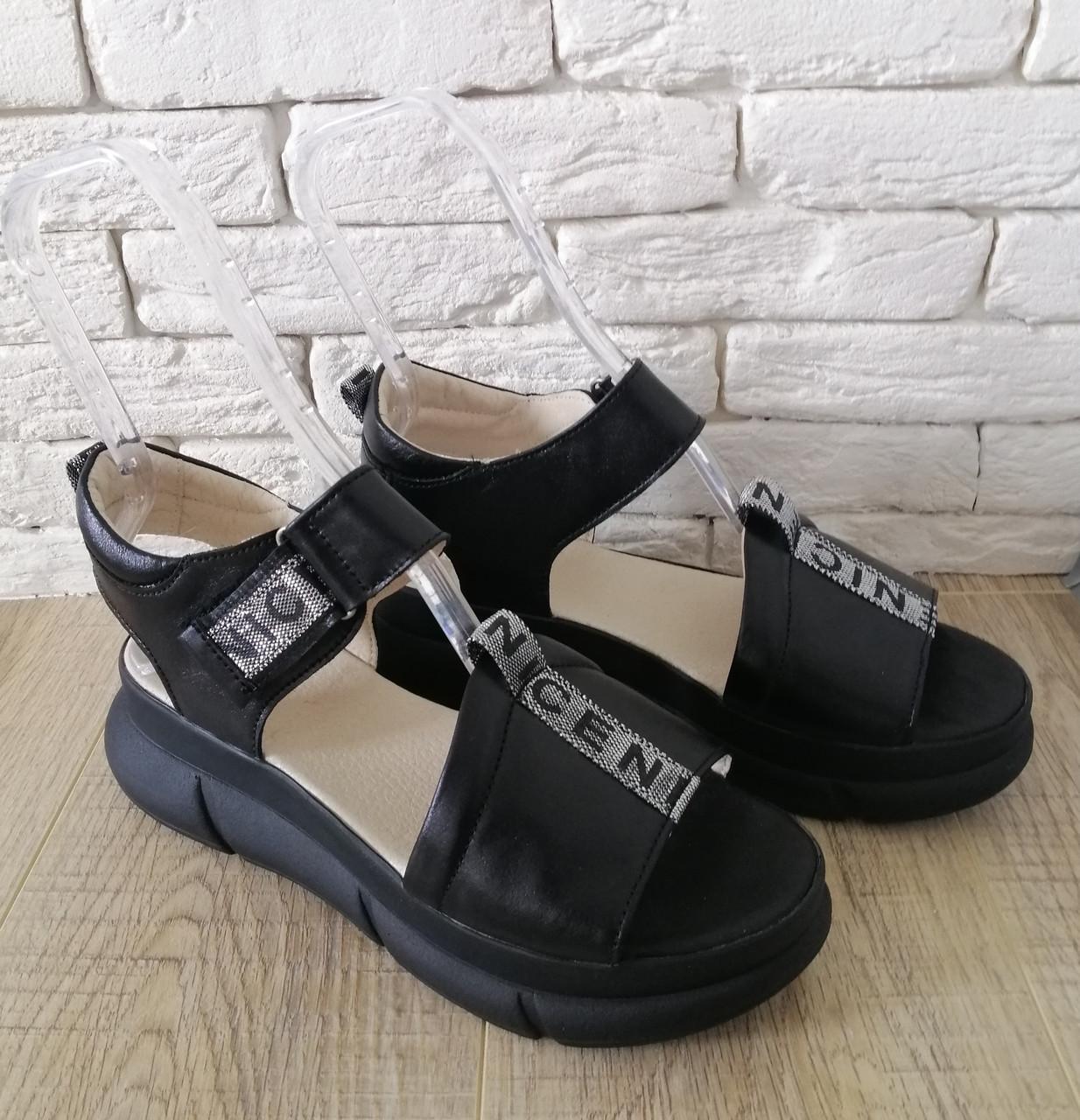 Женские кожаные босоножки  на платформе  36-41 черный