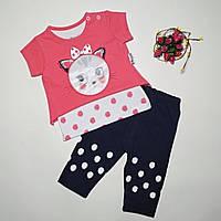 Детский летний костюм на девочку размер 68, 74, 80 см на 6- 18 месяцев