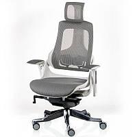 Кресло компьютерное  серое с подголовником и прочной сеткой на спинке