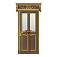Межкомнатная дверь Casa Verdi Torino 2 из массива ясеня с золотой патиной со стеклом