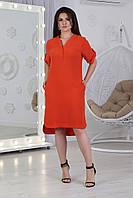 А359/1 Платье женское  летнее  БАТАЛ красное/ красного цвета/ цвет красный