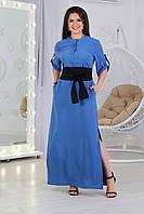 А359  Длинное платье-рубашка с поясом синее/ ярко-синее / синего цвета/ электрик