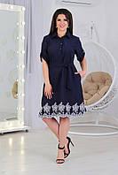 А487  Стильное платье-рубашка с вышевкой  синее/ темно-синее/ темно-синего цвета/ цвет синий