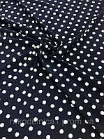 Ткань вискоза (Soft) белый горох на синем фоне (ш 140 см) для пошива одежды, платьев, блузок,сарафанов,брюк