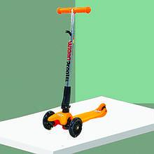 Детский самокат для маленьких со светящимися колесами. Самокат дитячий с двумя передними колесами