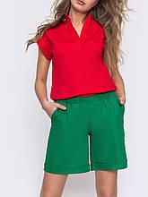 Лляні шорти з поясом на резинці і косими кишенями ЛІТО зелений