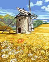 Картина за номерами Млин на пшеничному полі 40*50 см. Код-08637