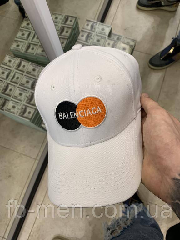 Кепка белого цвета Balenciaga круглые логотипы Кепка бейсболка мужская женская Баленсиага
