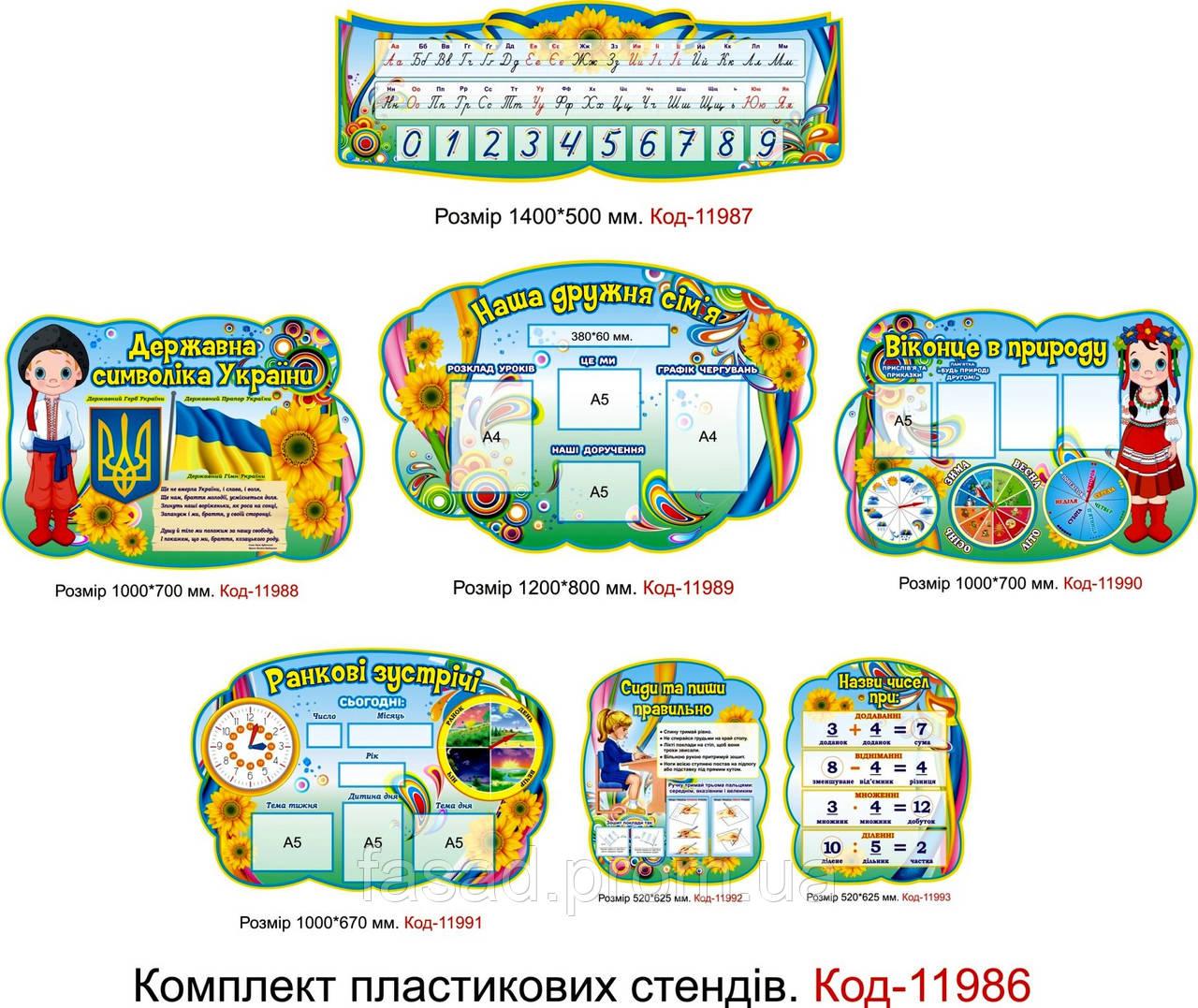 Набір пластикових шкільних стендів для початкових класів Код-11986