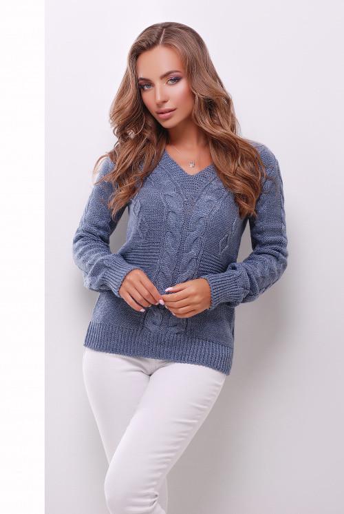 Вязаный женский джемпер светлый джинс 44-50