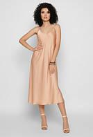 Женское летнее платье - комбинация бежевого цвета