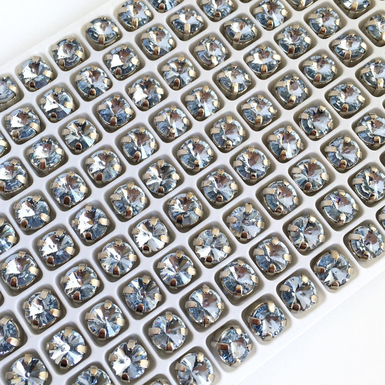 Риволи 6 мм (LUX). Аквамарин. Оправа (под серебро). Цена за 1 шт
