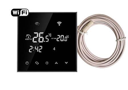 Терморегулятор программируемый  EcoTerm  SN WI-FI Black сенсорный, фото 2