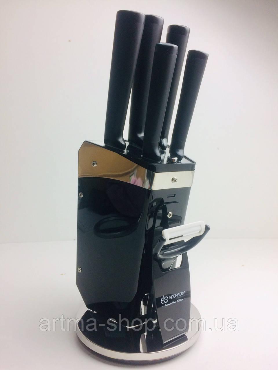 Набор чёрных ножей на акриловой чёрной подставке 8 предметов Edenberg Нержавеющая сталь