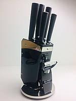 Набор чёрных ножей на акриловой чёрной подставке 8 предметов Edenberg Нержавеющая сталь, фото 1