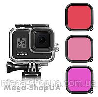 Защитный корпус чехол аквабокс для экшн камеры GoPro Hero 8 Black водонепроницаемый с тремя фильтрами ZX124-3