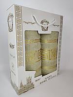 Полотенца комплект Versace Кофейный Турция в подарочной коробке Банное 70*140 + Лицевое 50*90