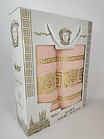 Полотенца комплект Versace Персиковый Турция в подарочной коробке Банное 70*140 + Лицевое 50*90