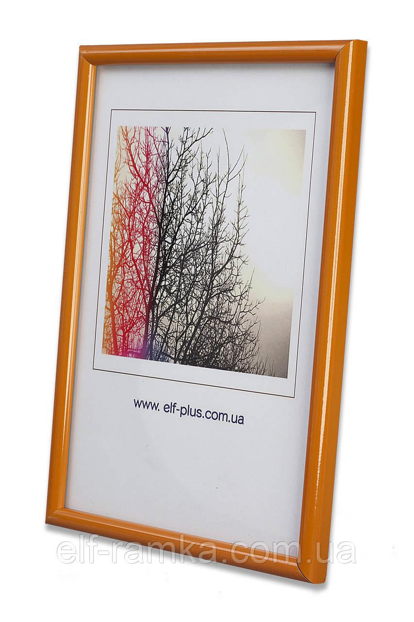 Рамка 40х40 из пластика - Оранжевая - с прозрачным пластиком