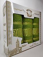 Подарочный набор махровых турецких полотенец Зеленый Versace Банное 70*140 + Лицевое 50*90 - 2шт