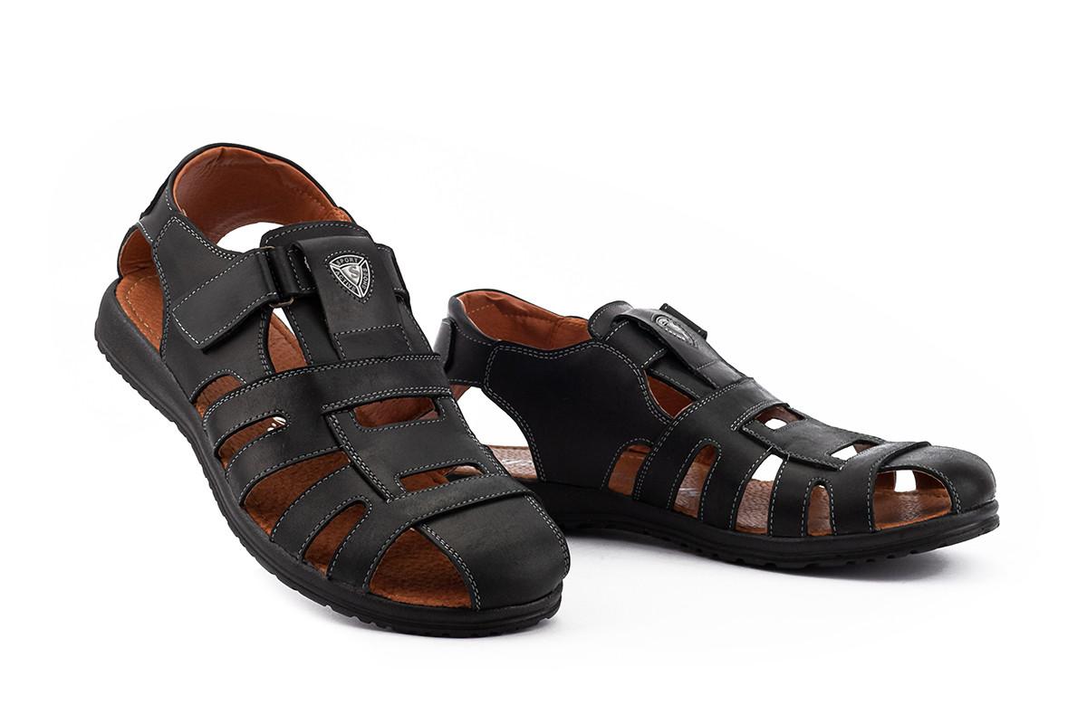 Мужские сандали кожаные летние черные Morethan Active Пр-3-ч