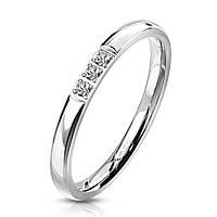 Женское кольцо из стали с фианитами от Spikes, р. 15.7, 16.5, 17.3, 18