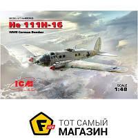 Модель 1:48 самолеты - ICM - He 111H-16. Немецкий бомбардировщик ІІ МВ (ICM48263) пластмасса