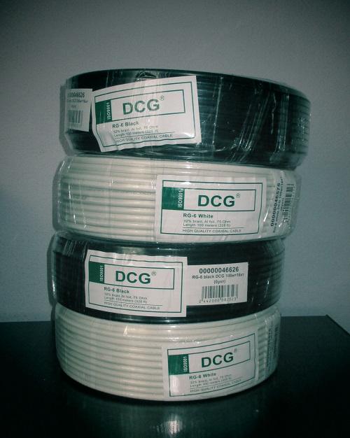 Кабель телевизионный 100 м DCG RG-6 white
