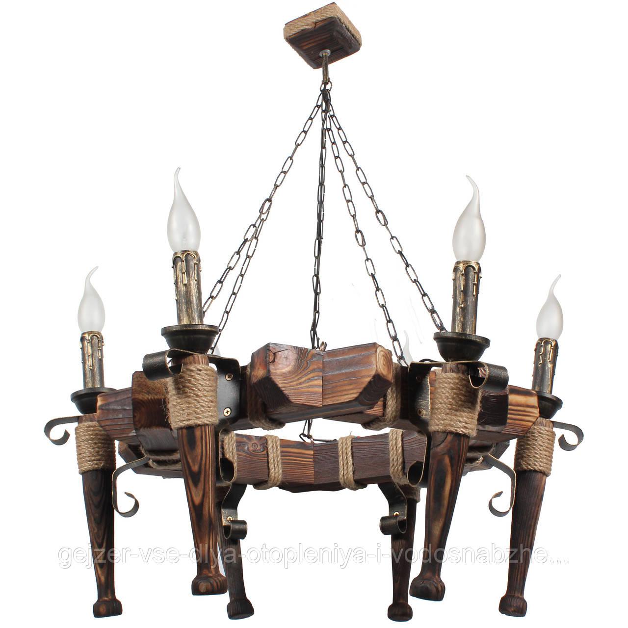 Люстра подвесная 6 свечей Е14 серии Fakel Джут 460726