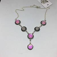 Розовый кварц мистик топаз красивое ожерелье с камнем розовый кварц топаз ожерелье колье с кварцем в серебре