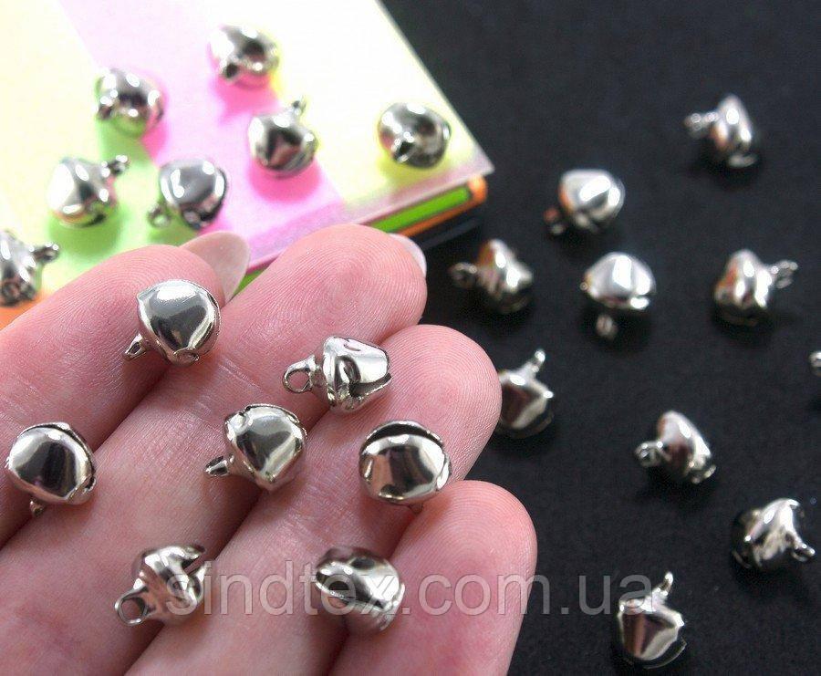 (25 шт) Бубенчики металлические бубенцы 9х8мм Цвет - СЕРЕБРО (сп7нг-0259)