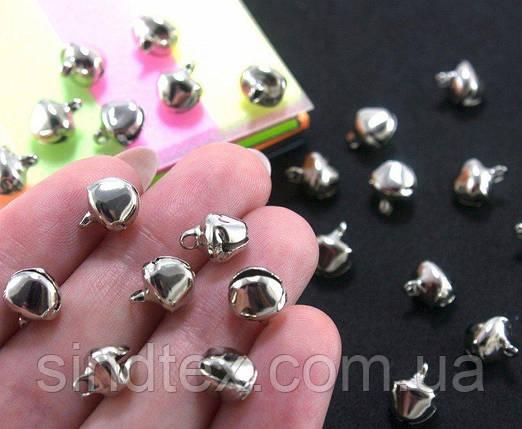 (25 шт) Бубенчики металлические бубенцы 9х8мм Цвет - СЕРЕБРО (сп7нг-0259), фото 2