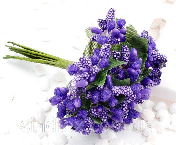 """Тычинки """"Незабудка"""" на проволоке с листиками"""" (Цена за букетик) Цвет - Фиолетовый (сп7нг-0619)"""