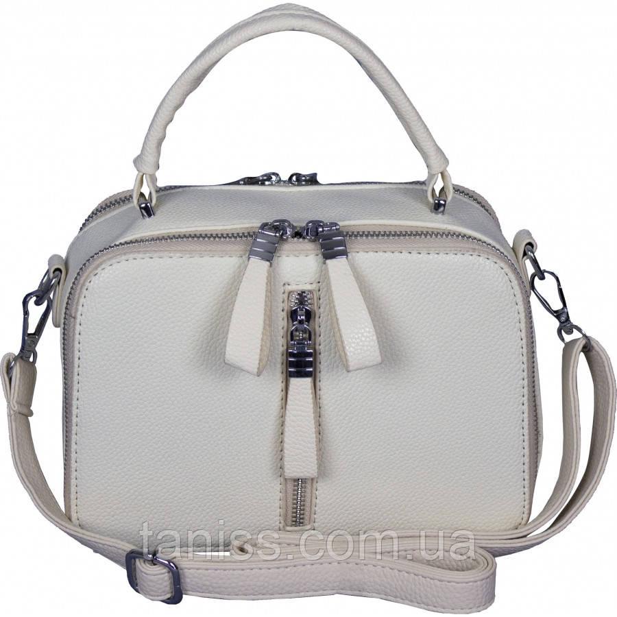 Женская сумка клатч, материал кожзам, одна короткая ручка,два отделения, (12425) белая
