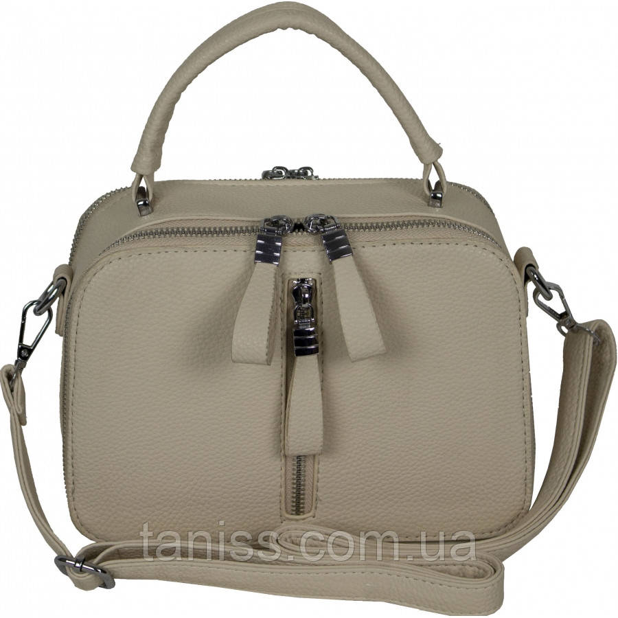 Женская сумка клатч, материал кожзам, одна короткая ручка,два отделения, (12425) бежевая