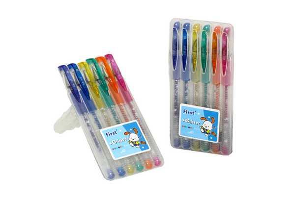 Набір ручок гелевих FIRST GLITTER 6 кольорів, в пластиковому пеналі