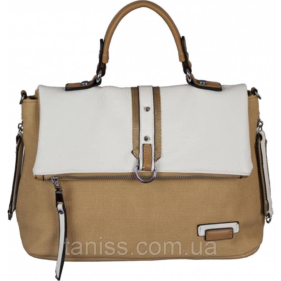 Женская сумка, материал кожзам, одна короткая ручка,одно отделение, (H9723) горчица с белым