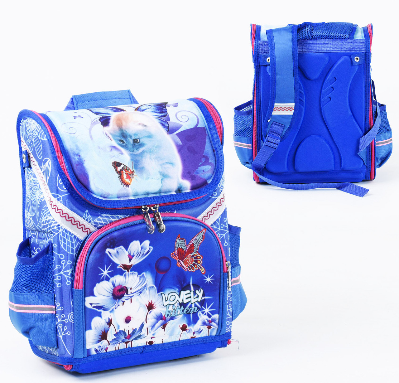 + Подарок Детский школьный рюкзак Котики каркасный 3D принт, 1 отделение, 3 кармана