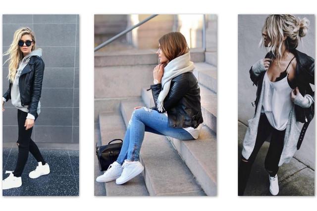 косуха и кроссовки белые кеды