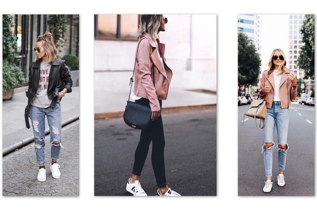 косуха и кроссовки с джинсами