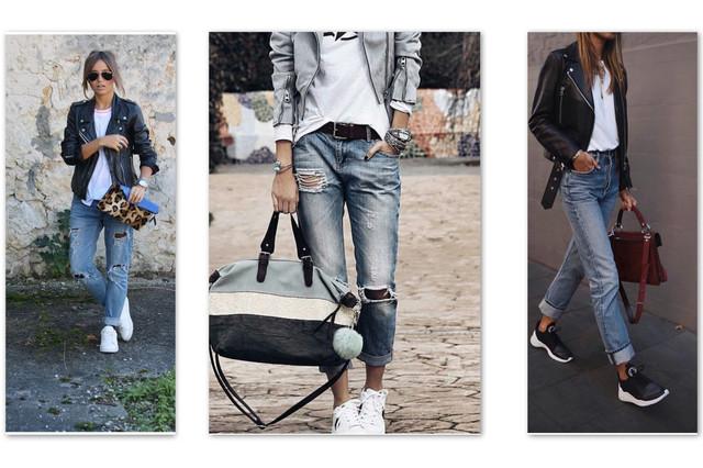 кожаная косуха и кроссовки с джинсами