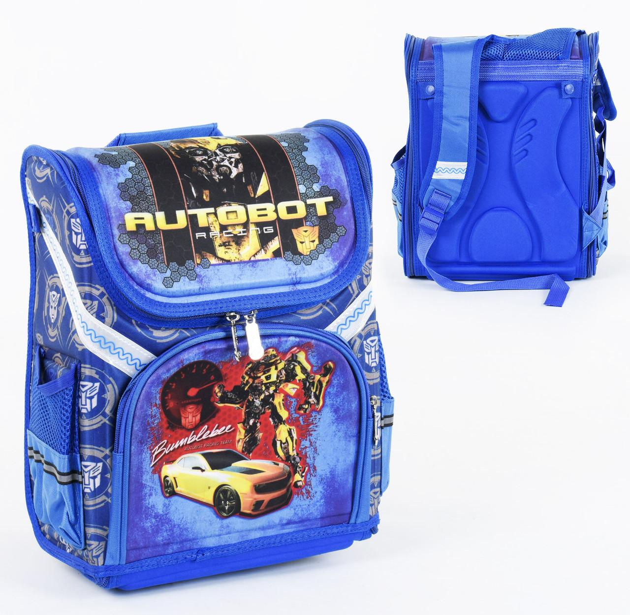 Дитячий шкільний рюкзак Жовта машина каркасний 3D принт, 1 відділення, 3 кишені