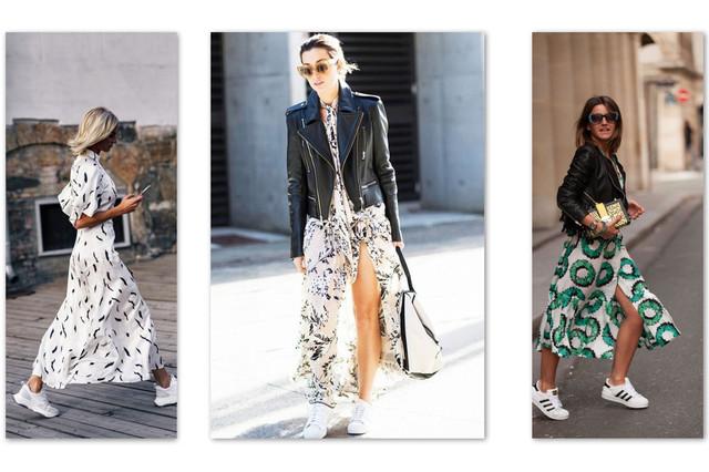 косуха и кроссовки с принтованными платьями
