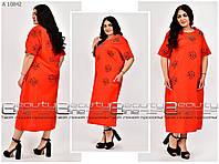 Женское летнее, яркое платье свободного кроя ткань коттон - Турция. Больших размеров Р- 50, 52, 54 красное