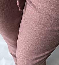Летние брюки из льна-коттона №14 БАТАЛ розовый, фото 2