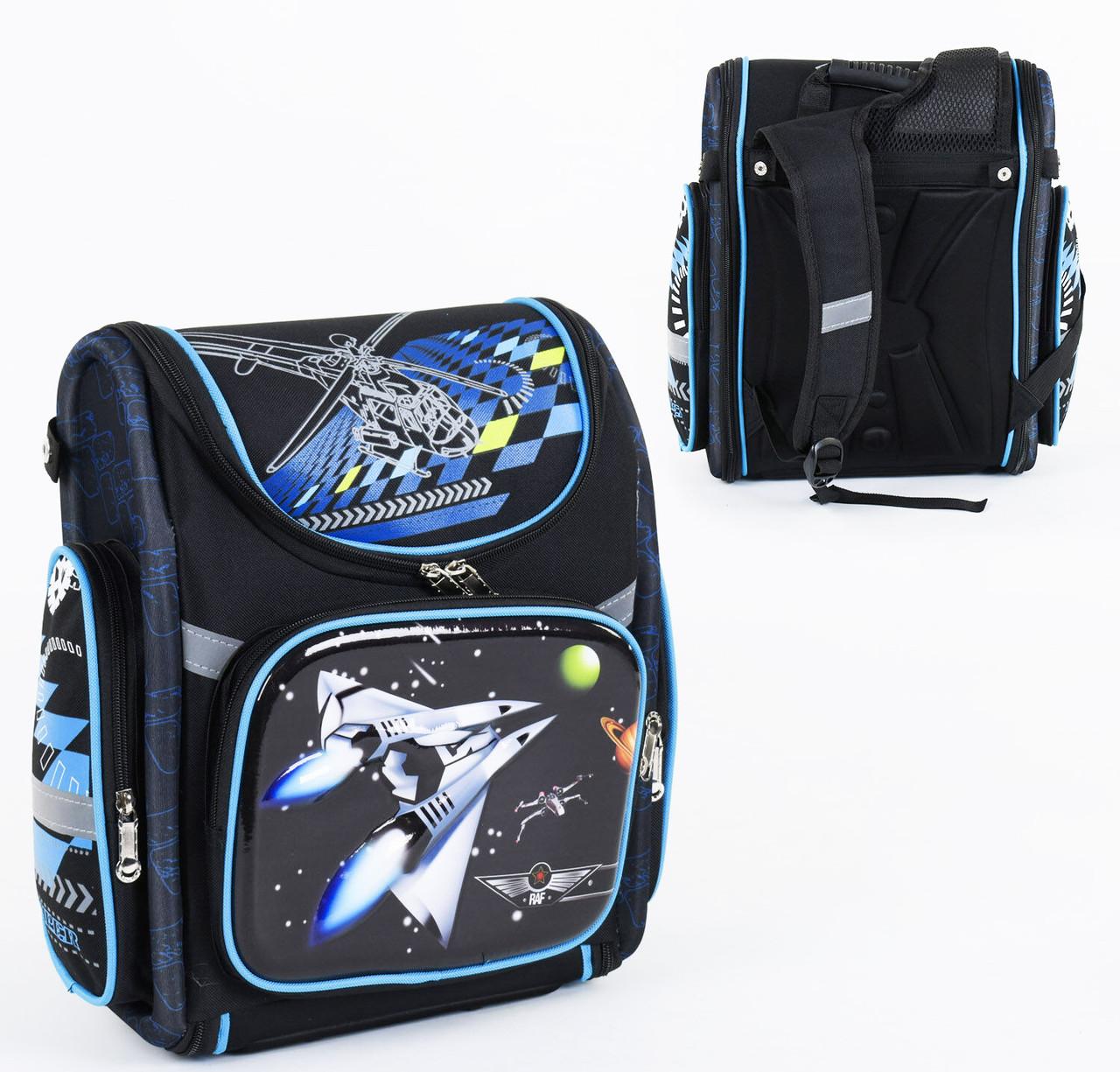 Дитячий шкільний рюкзак Космічний корабель каркасний 3D принт, 1 відділення, 3 кишені